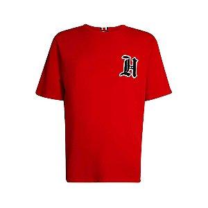 "Tommy Hilfiger x Lewis Hamilton - Camiseta Logo Flocked ""Red"""
