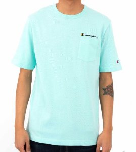 "CHAMPION - Camiseta Heritage Script Pocket ""Waterfall Green"""