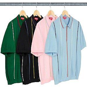 ENCOMENDA -  SUPREME - Camiseta Polo Pinstripe Half Zip