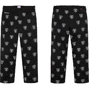 ENCOMENDA - Supreme x NFL x Raiders - Calça Embroidered Chino