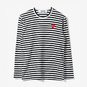 """COMMES DE GARÇONS PLAY - Camiseta Little Heart Stripe """"White/Black"""""""