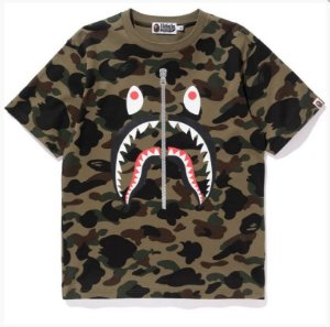 "BAPE - Camiseta Shark Zip Camo ""Green"""