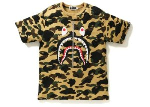 "BAPE - Camiseta Shark Zip Camo ""Yellow"""