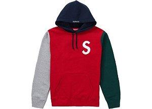 "SUPREME - Moletom S Logo Colorblocked ""Red"""