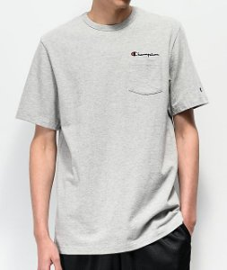"CHAMPION - Camiseta Heritage Script Pocket ""Grey"""