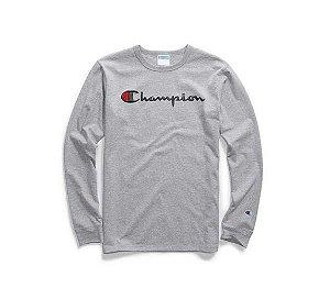 "CHAMPION - Camiseta Script Logo Embroidered Manga Longa ""Grey"""