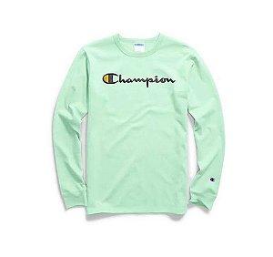 "CHAMPION - Camiseta Script Logo Embroidered Manga Longa ""Waterfall Green"""