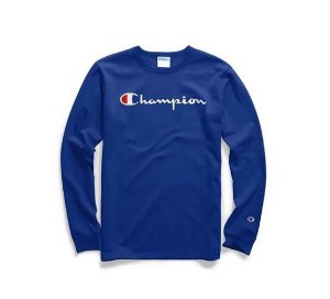 "CHAMPION - Camiseta Script Logo Embroidered Manga Longa ""Blue"""