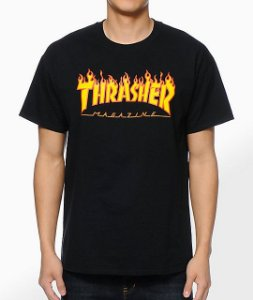 "THRASHER - Camiseta Flame Logo ""Black"""