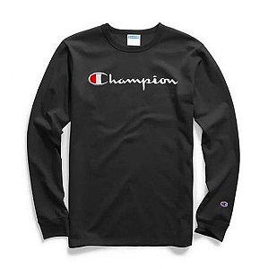 "CHAMPION - Camiseta Script Logo Embroidered Manga Longa ""Black"""
