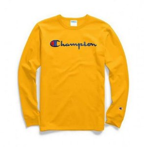 "CHAMPION - Camiseta Script Logo Embroidered Manga Longa ""Yellow"""