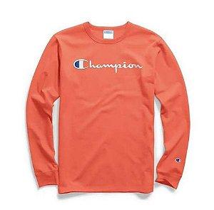"CHAMPION - Camiseta Script Logo Embroidered Manga Longa ""Orange"""