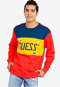 "Guess x J.Balvin - Moletom Logo ""Red/Yellow/Navy"""