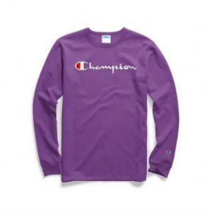 "CHAMPION - Camiseta Script Logo Embroidered Manga Longa ""Purple"""