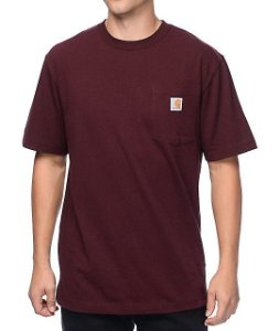 "CARHARTT- Camiseta Pocket ""Burgundy"""