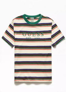"""GUESS - Camiseta Dylan Striped 1981 """"Bege/Green"""""""