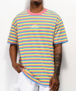 "ODD Future - Camiseta OF Striped ""Pink/Blue/Yellow"""