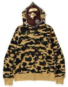 "BAPE - Moletom 1ST Camo APE Full Zip ""Yellow"""