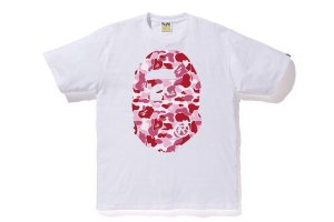 "BAPE - Camiseta ABC Camo Pink Big Ape Head ""White"""
