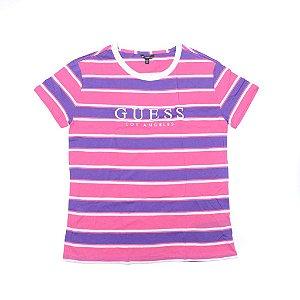 "GUESS - Camiseta Striped ""Pink/White"" (Feminina)"