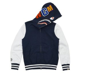 "BAPE - Moletom Shark Sweat Varsity ""Navy/White"""