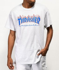 "THRASHER - Camiseta Patriot Flame ""Ash Grey"""
