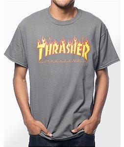 "THRASHER - Camiseta Flame Logo ""Charcoal"""