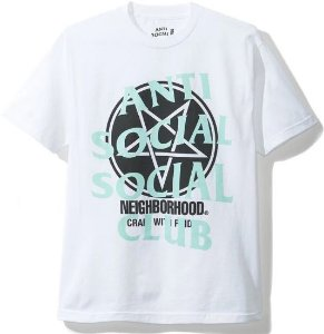 "ANTI SOCIAL SOCIAL CLUB x NEIGHBOURHOOD - Camiseta Filth Fury ""Branco"" -NOVO-"
