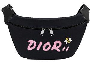 """Dior x Kaws -  Pochete Logo Pink Nylon """"Black"""""""