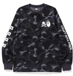 "Bape x Neighborhood - Camiseta Camo Manga Longa ""Black"""
