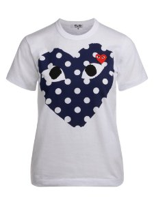 "COMMES DES GARÇONS - Camiseta Play Blue Polka Dot Heart ""Branco"" -NOVO-"