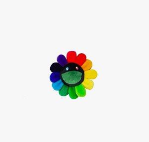 """KAIKAI KIKI - Pin Takashi Murakami Flower Plush """"Rainbow/Black"""""""