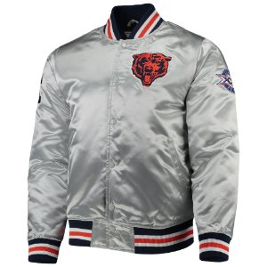 "MICHELL & NESS - Jaqueta Chicago Bears Game Satin ""Silver"""