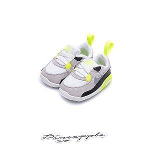 """Nike Air Max 90 CRIB """"Grey/Volt"""" (Infantil) Tamanho: 15"""