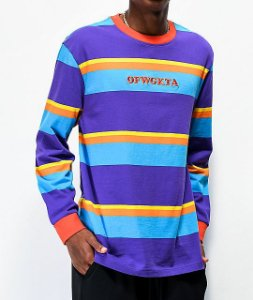"ODD FUTURE - Camiseta Manga Longa Stripes ""Orange/ Purple"""