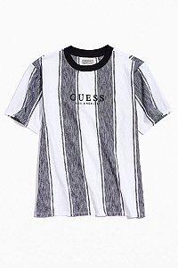 "GUESS - Camiseta Zen Striped Embroidered Text Striped ""Black/White"""