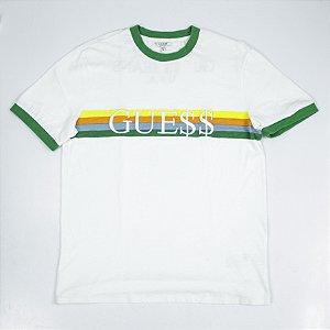"!GUESS x ASAP ROCKY - Camiseta Logo Guess ""Branco/Verde"" -USADO-"