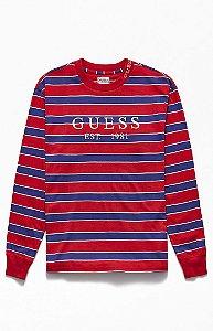 """GUESS - Camiseta Manga Longa Dylan Striped 1981 """"Red/Purple"""""""