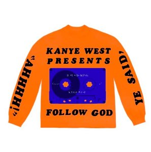 "KANYE WEST - Camiseta Manga Longa Follow God  ""Orange"""