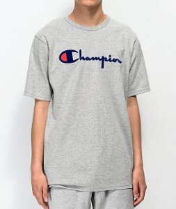"CHAMPION - Camiseta Flock Script ""Grey"""