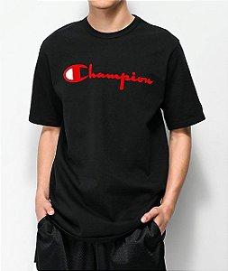 """CHAMPION - Camiseta Flock Script """"Black"""""""