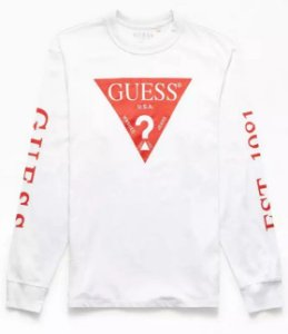 "GUESS - Camiseta Manga Longa Red Triangle ""White"""