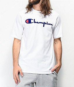 """CHAMPION - Camiseta Flock Script """"White"""""""
