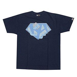 "BAPE X KAWS -  Camiseta Diamond ""Marinho"" -USADO-"