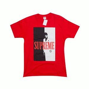 "SUPREME x SCARFACE - Camiseta Split ""Vermelha"" -USADO-"