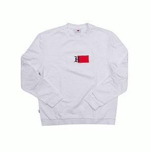 """TOMMY HILFIGER x LEWIS HAMILTOM - Moletom Crewneck Logo """"White"""" -USADO-"""