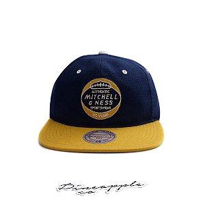 "MITCHELL & NESS - Boné Heritage Patch Strapback Leather ""Navy/Yellow"""