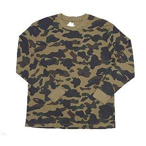 "BAPE - Camiseta Thermal Manga Longa Bathing Ape ""Camo Green"""