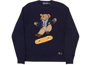 "PALACE x POLO RALPH LAUREN - Sweater Skate Polo Bear ""Marinho"" -NOVO-"