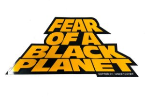 "SUPREME - Adesivo SS18 Public Enemy Fear Of A Black Planet ""Preto/Laranja"" -NOVO-"